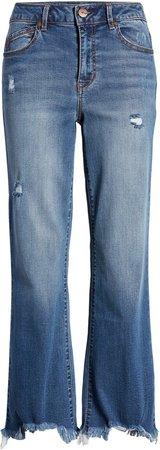 High Waist Raw Hem Jeans