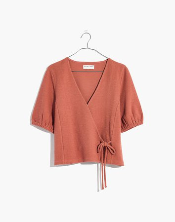 Texture & Thread Puff-Sleeve Wrap Top orange