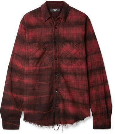 Cloud Frayed Checked Cotton-flannel Shirt - Red