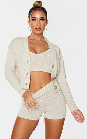 Cream Knitted Button Crop Cardigan | Knitwear | PrettyLittleThing