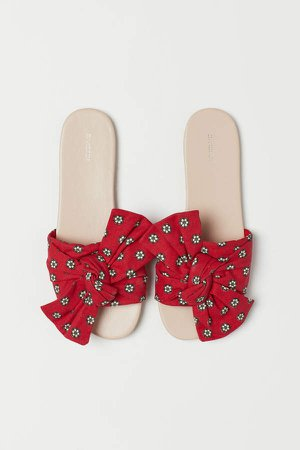 Slides with Bow - Red