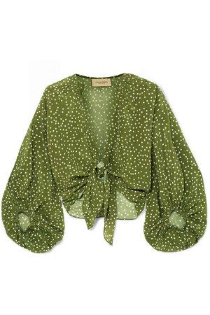 Adriana Degreas   Millie Punti tie-detailed polka-dot silk crepe de chine blouse   NET-A-PORTER.COM