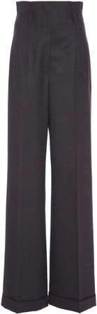 Alberta Ferretti High-Rise Wool-Blend Pants