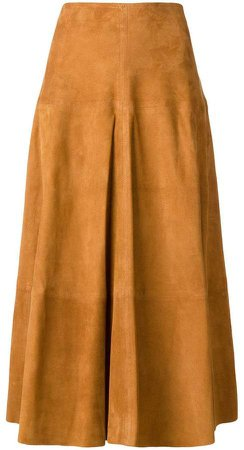 panelled suede skirt