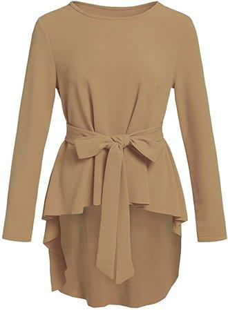 Romwe Women's Solid Long Sleeve Elegant Party Belted Ruffle Peplum Blouse Shirts Top Burgundy M at Amazon Women's Clothing store