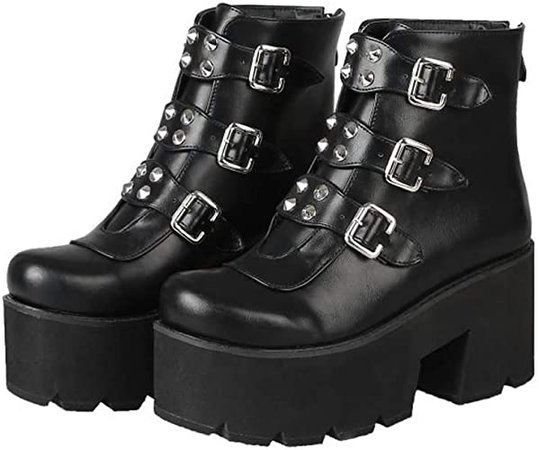 Amazon.com | YIYA Studded Ankle Boots for Women Round Toe Buckle Motorcycle Boots Black Chunky Heels Platform Gothic Shoes | Mid-Calf