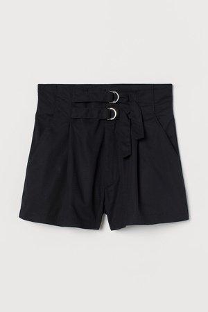 Twill Shorts High Waist - Black