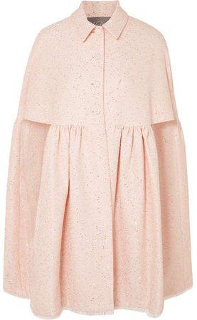 Sequined Tweed Cape - Pastel pink