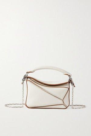 Puzzle Nano Leather Shoulder Bag - White