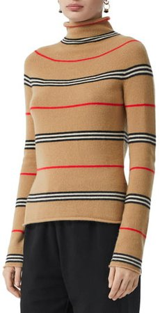 Stripe Cashmere Turtleneck Sweater