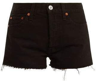 The Short Mid Rise Denim Shorts - Womens - Black