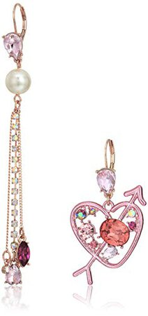 Betsey Johnson Pink Heart and Arrow and Chain Mismatch Drop Earrings: Clothing