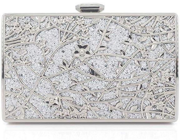 Dexmay Formal Floral Evening Bag for Wedding Party Luxury Glitter and Rhinestone Crystal Clutch Purse Silver: Handbags: Amazon.com