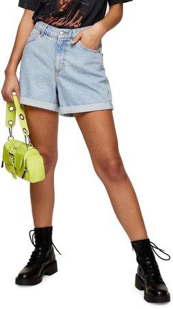 Roll Hem Mom Denim Shorts