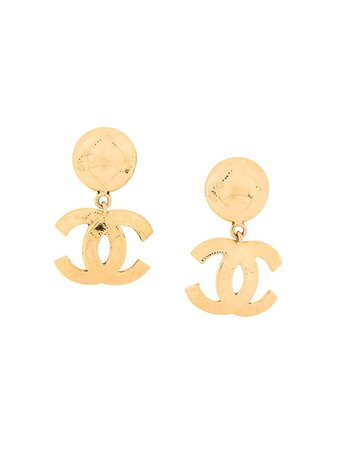 Chanel Pre-Owned Chanel logo drop earrings £1,275 - Buy Online - Mobile Friendly, Fast Delivery