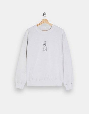 Topshop Petite rabbit print sweatshirt in white | ASOS