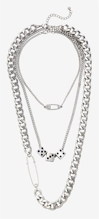SAFETY PIN DICE CHAIN NECKLACE SET