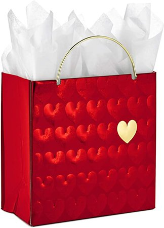 """Amazon.com: Hallmark Signature 6"""" Small Valentine's Day Gift Bag with Tissue Paper (Red Hearts, Gold Handle): Kitchen & Dining"""