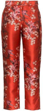 Johanna Ortiz Corajuda Renaissance floral-print satin trousers
