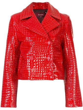 Sies Marjan Crocodile-Effect Leather Jacket 16RS4037COCCO Red   Farfetch