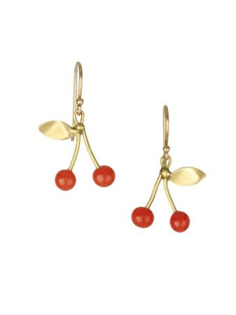 Annette Ferdinandsen - Red Coral & 18K Yellow Gold Strawberry Post Earrings - saks.com