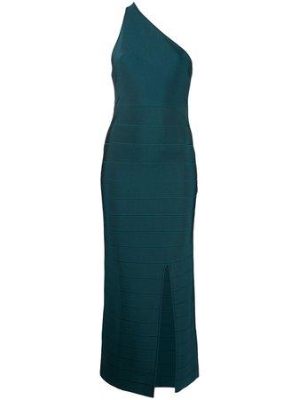 Shop blue Hervé Léger one-shoulder backless long dress with Express Delivery - Farfetch