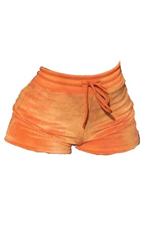 Orange Velvet Shorts