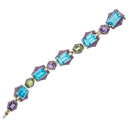 Goshwara Emerald Blue Topaz and Sapphire Bracelet