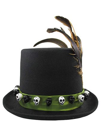 Amazon.com: Jacobson Hat Company Men's 6 Inch Deluxe Voodoo Witch Doctor Hat with Green Satin Band,Black,One size: Clothing