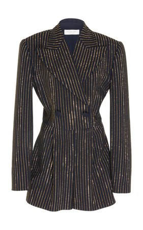 Crystal-Pinstriped Crepe Romper by Michael Kors Collection | Moda Operandi