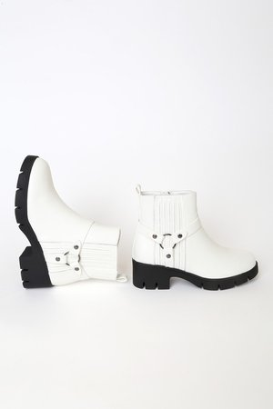 Cool White Ankle Boots - Faux Leather Boots - Chunky Ankle Boots