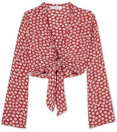 Teguise Tie-front Floral-print Crepe Top - Red