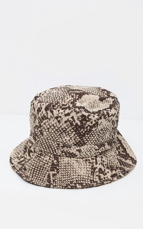 Natural Snake Print Bucket Hat | Accessories | PrettyLittleThing