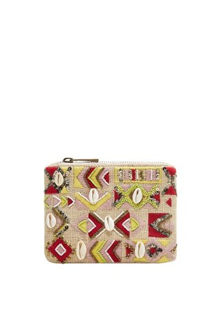 Violeta BY MANGO Seashell embroidered purse