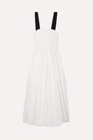 Mathews - Eleanor Grosgrain-trimmed Cotton-blend Poplin Maxi Dress - Ivory