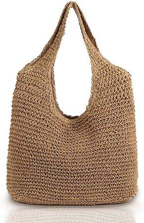 Amazon.com: QTKJ Hand-woven Soft Large Straw Shoulder Bag Boho Straw Handle Tote Retro Summer Beach Bag Rattan Handbag (Khaki): Shoes