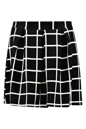Check Textured Box Pleat Skater Skirt | Boohoo