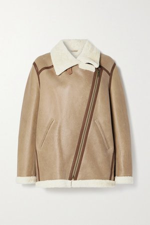 Azare Leather-trimmed Shearling Jacket - Beige