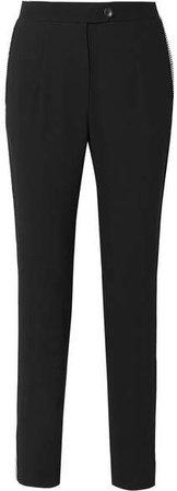 Crystal-embellished Crepe Tapered Pants - Black
