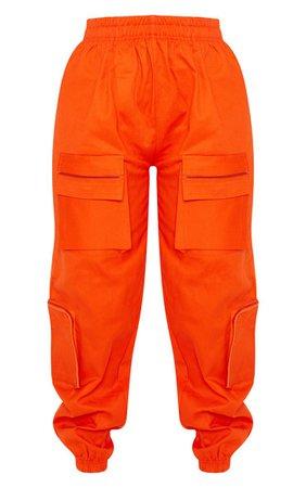 Neon Orange 3D Pocket Cargo Pants   PrettyLittleThing USA