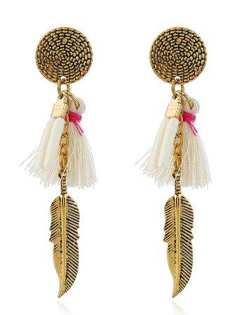 Tassel Detail Feather Drop Earrings