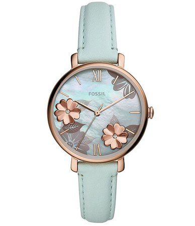 Fossil Jacqueline Three-Hand Floral Motif Green Leather Watch | Dillard's