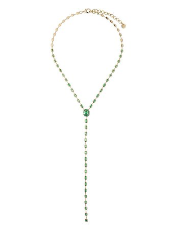 Shay 18Kt Rose Gold Emerald Lariat Necklace Ss20 | Farfetch.com