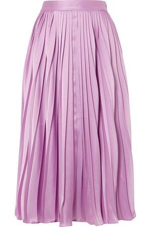 Co   Pleated satin-twill midi skirt   NET-A-PORTER.COM