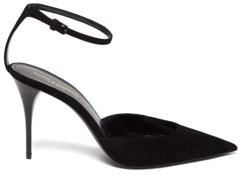 Lexi Ankle-strap Suede Pumps - Womens - Black