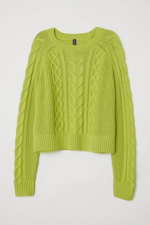 Cable-knit Sweater - Lime green | H&M
