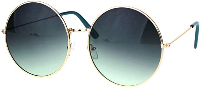 Amazon.com: Classic Oversize Joplin Style Hippie Round Circle Lens Sunglasses Gold Blue Smoke: Clothing