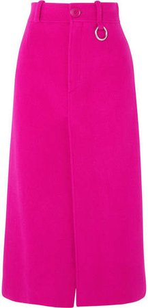 Wool-blend Midi Skirt - Bright pink