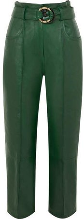 Cropped Belted Leather Straight-leg Pants - Dark green