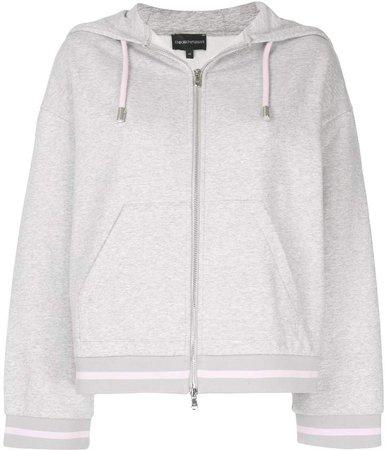 contrast-string zip-up hoodie